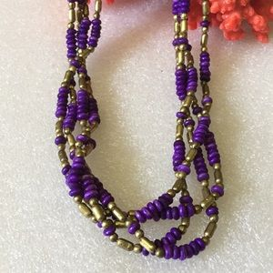 Antique brass colored coral necklace